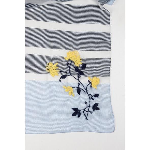 Schal, Blütenstickerei, Streifen
