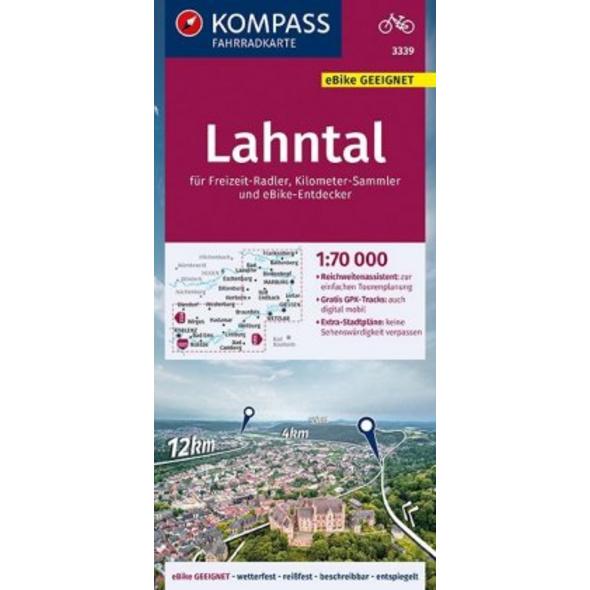 KOMPASS Fahrradkarte Lahntal 1:70.000, FK 3339