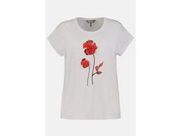 Ulla Popken T-Shirt, 3D-Chiffonblüte, Oversized, Viskose - Große Größen
